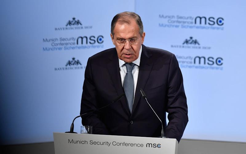 Russian Foreign Minister Sergei Lavrov told the Munich Security Conference the allegations against Russian troll factories were not credible - AFP