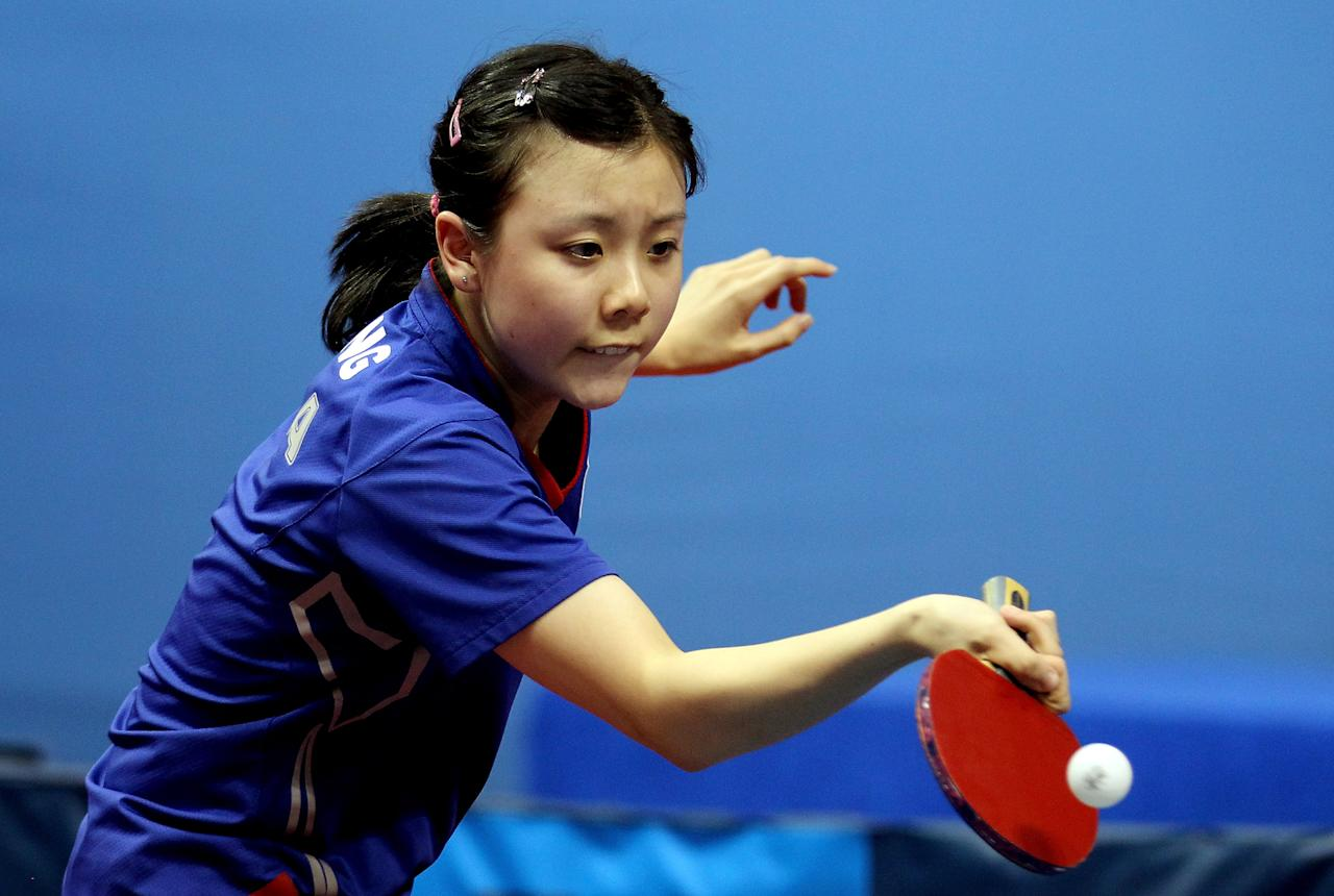 GUADALAJARA, MEXICO - OCTOBER 15:  Ariel Hsing of USA in action during the Women's Table Tennis during Day One of the XVI Pan American Games at Code Dome on October 15, 2011 in Guadalajara, Mexico.  (Photo by Scott Heavey/Getty Images)