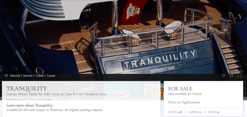 'Tranquility', the yacht that used to belong to Jho Low is up for sale again. — Screenshot from Camper and Nicholson