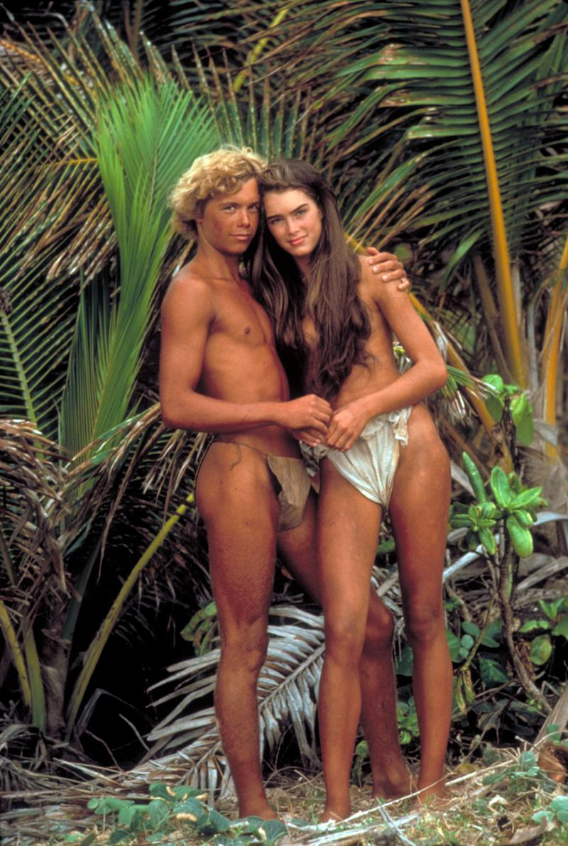 Actor Christopher Atkins cuddling actress Brooke Shields in scene fr. the motion picture Blue Lagoon. (Photo by Alan Pappe/The LIFE Images Collection/Getty Images)