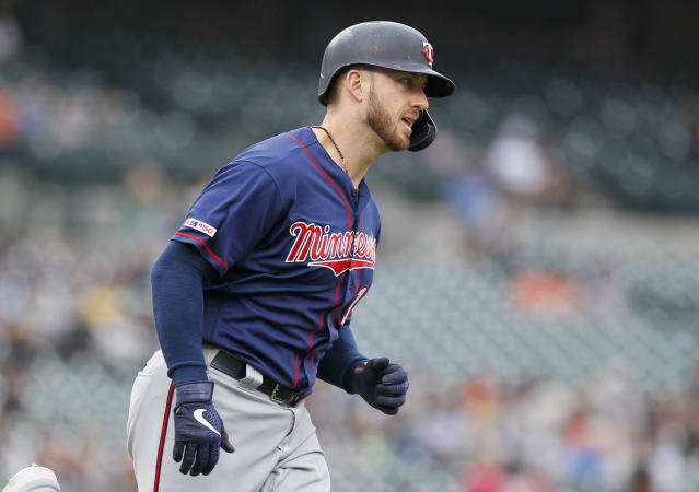 Mitch Garver hit the Minnesota Twins 268th home this season, which broke the MLB single-season home run record set by the New York Yankees in 2018. (Duane Burleson/Getty Images)
