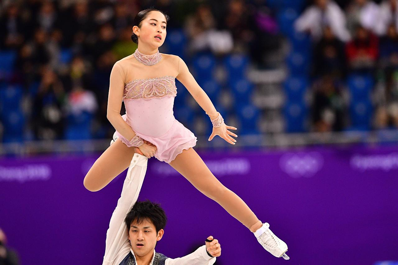 <p>Japan's Miu Suzaki and Japan's Ryuichi Kihara compete in the figure skating team event pair skating free skating during the Pyeongchang 2018 Winter Olympic Games at the Gangneung Ice Arena in Gangneung on February 11, 2018. / AFP PHOTO / Mladen ANTONOV </p>