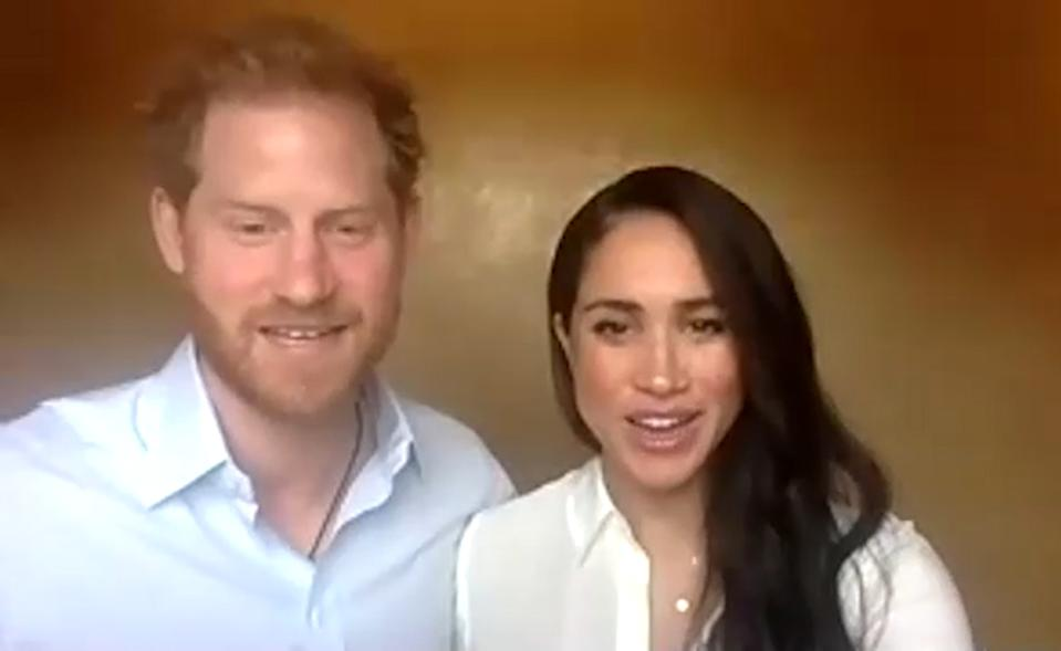 EMBARGOED TO 1300 BST, Monday July 6 2020. Framegrab from video supplied by The Queen's Commonwealth Trust (QCT), of The Duke and Duchess of Sussex joining a session (Wednesday July 1, 2020) hosted by the trust to look at 'fairness, justice and equal rights'. In response to the growing Black Lives Matter movement, QCT has been running a weekly discussion with young people looking at various forms of injustice on the experiences of young people today.