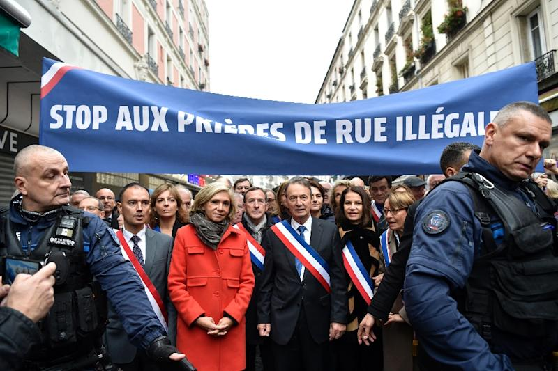 Valerie Pecresse, head of the Paris area's regional government, participated in the march Friday against street prayers by local Muslims (AFP Photo/ALAIN JOCARD)