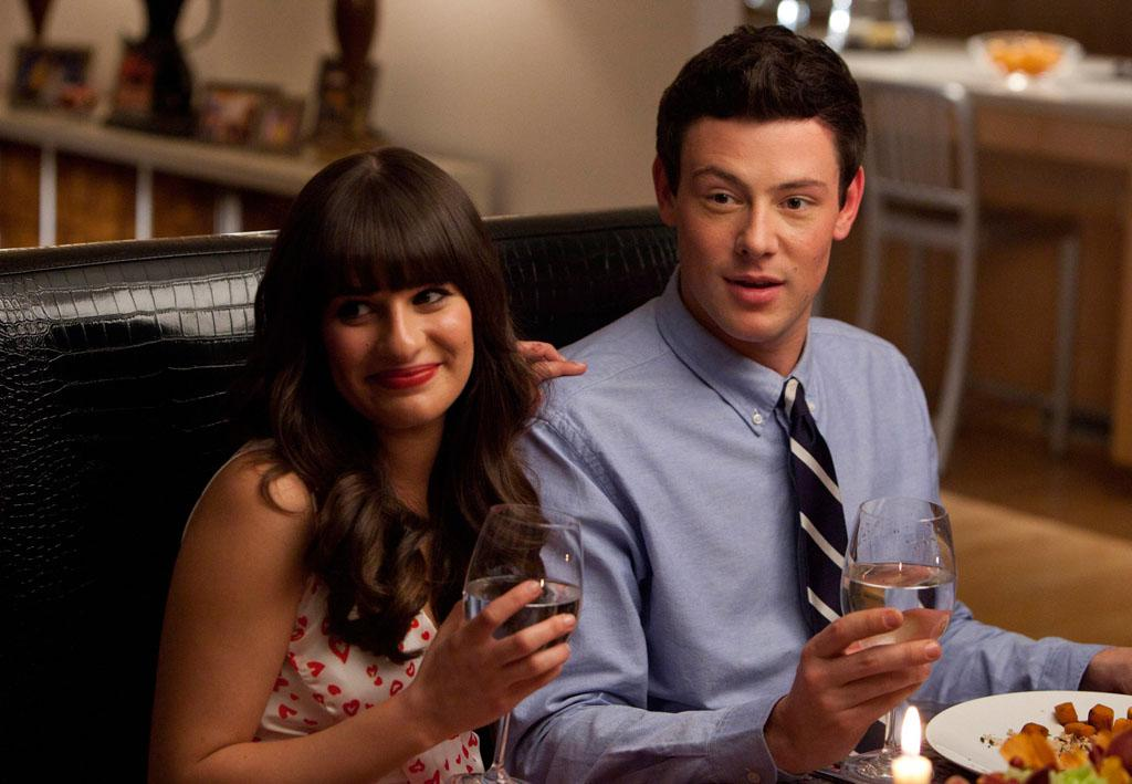 "Rachel (Lea Michele) and Finn (Cory Monteith) have dinner with her dads in the ""Heart"" episode of ""Glee."""