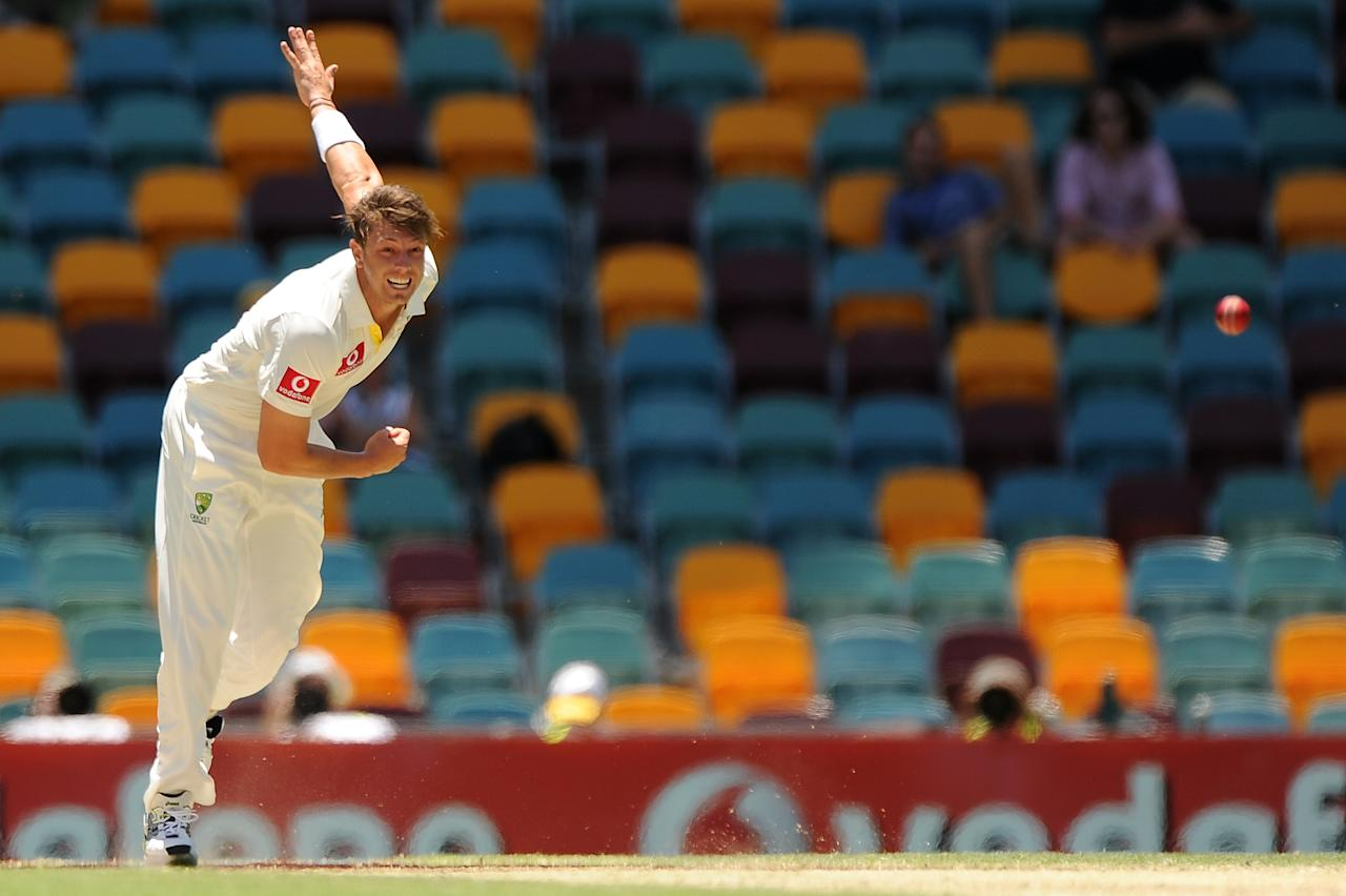 BRISBANE, AUSTRALIA - NOVEMBER 13:  James Pattinson of Australia bowls during day five of the First Test match between Australia and South Africa at The Gabba on November 13, 2012 in Brisbane, Australia.  (Photo by Matt Roberts/Getty Images)