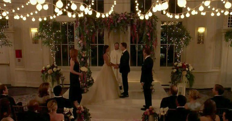 Suits wedding scene