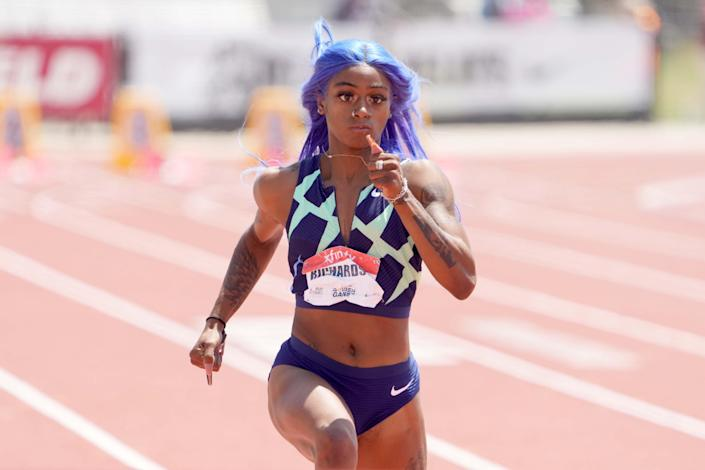 Sha'Carri Richardson wins the women's 100m in 10.77 during the USATF Golden Games at Hilmer Lodge Stadium.