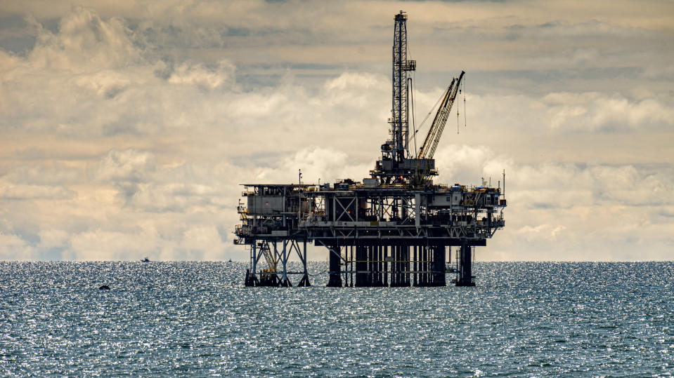 HUNTINGTON BEACH, CA - APRIL 05: An off-shore oil platform off the coast in Huntington Beach on Sunday, April 5, 2020.  (Photo by Leonard Ortiz/MediaNews Group/Orange County Register via Getty Images)