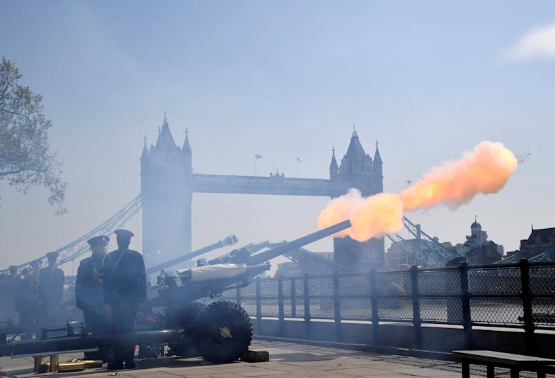 Members of the Honourable Artillery Company take part in a 62 gun ceremonial salute to mark the 93rd birthday of Britain's Queen Elizabeth, at the Tower of London, with Tower Bridge seen behind, in London, Britain, April 22, 2019. REUTERS/Toby Melville