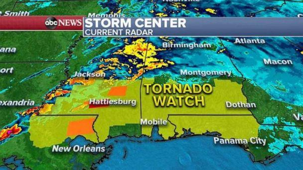 PHOTO: This morning, a new tornado watch has been issued until 2 p.m. this afternoon for Louisiana, Mississippi, Alabama and Florida where strong tornadoes are possible this morning and into the early afternoon. (ABC News)