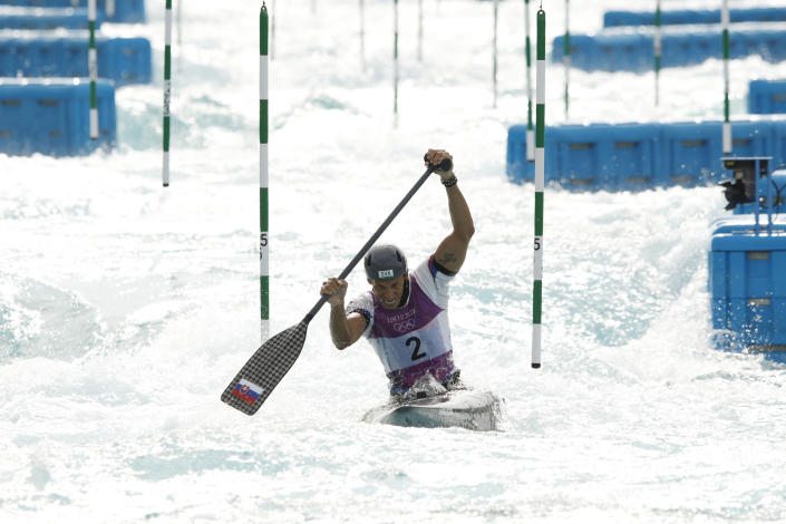 <p>TOKYO, JAPAN - JULY 26: Matej Benus of Team Slovakia competes during the Men's Canoe Slalom Final on day three of the Tokyo 2020 Olympic Games at Kasai Canoe Slalom Centre on July 26, 2021 in Tokyo, Japan. (Photo by Adam Pretty/Getty Images)</p>