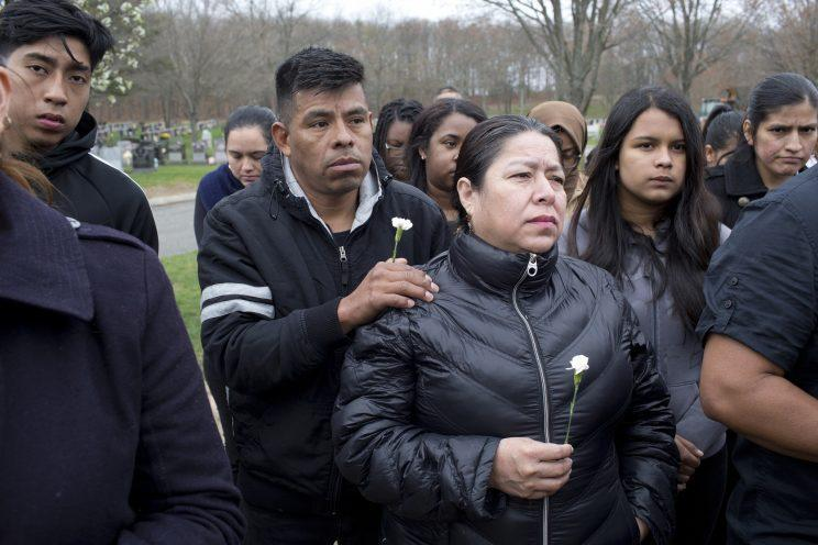 The funeral of Justin Llivicura, a Long Island teen who was killed in what many believe to be an attack by members of MS-13. (Photo: Andrew Lichtenstein/Corbis via Getty Images)