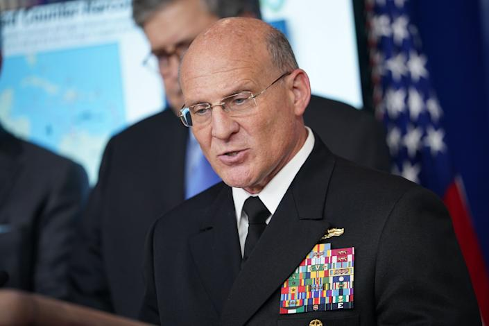 Chief of Naval Operations Admiral Michael Gilday speaks during the daily briefing on the novel coronavirus, COVID-19, in the Brady Briefing Room at the White House on April 1, 2020, in Washington, DC. (Mandel Ngan/AFP via Getty Images)