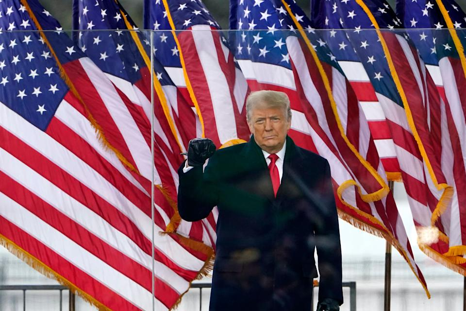President Donald Trump arrives to speak at a Jan. 6 rally in Washington. At the end of the speech, Trump encouraged his backers to march to the U.S. Capitol to challenge the presidential election results. (Photo: ASSOCIATED PRESS/Jacquelyn Martin)