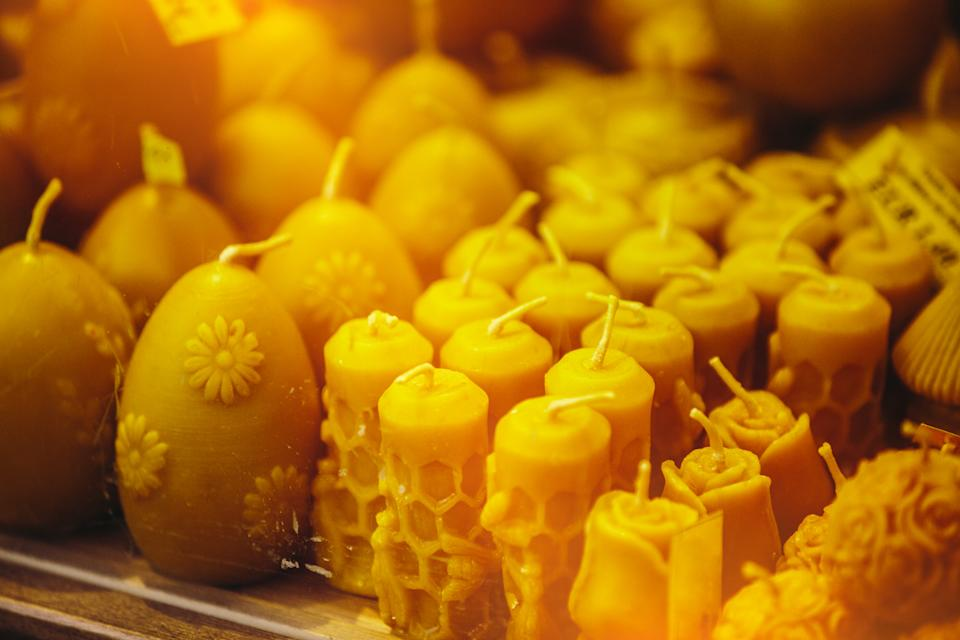 Beeswax candles at Farmers' market