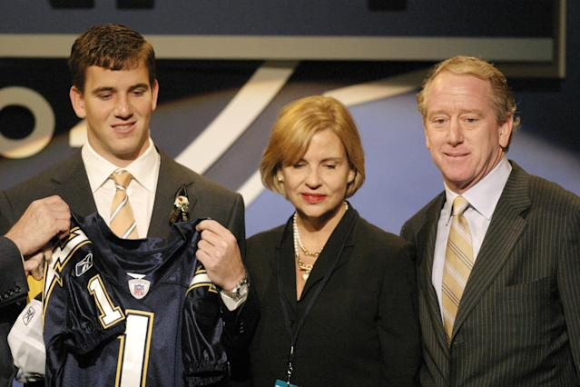 "<a class=""link rapid-noclick-resp"" href=""/nfl/players/6760/"" data-ylk=""slk:Eli Manning"">Eli Manning</a> was originally drafted No. 1 overall by the San Diego Chargers, but was traded to the <a class=""link rapid-noclick-resp"" href=""/nfl/teams/nyg/"" data-ylk=""slk:New York Giants"">New York Giants</a> when he said he would not play for San Diego. (AP)"