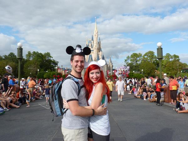 photo by: Jamie Chandler<br> The newlyweds honeymooned at (where else?!) Disney World for two weeks where they visited The Magic Kingdom a total of nine times. We wish them happily-ever-after!