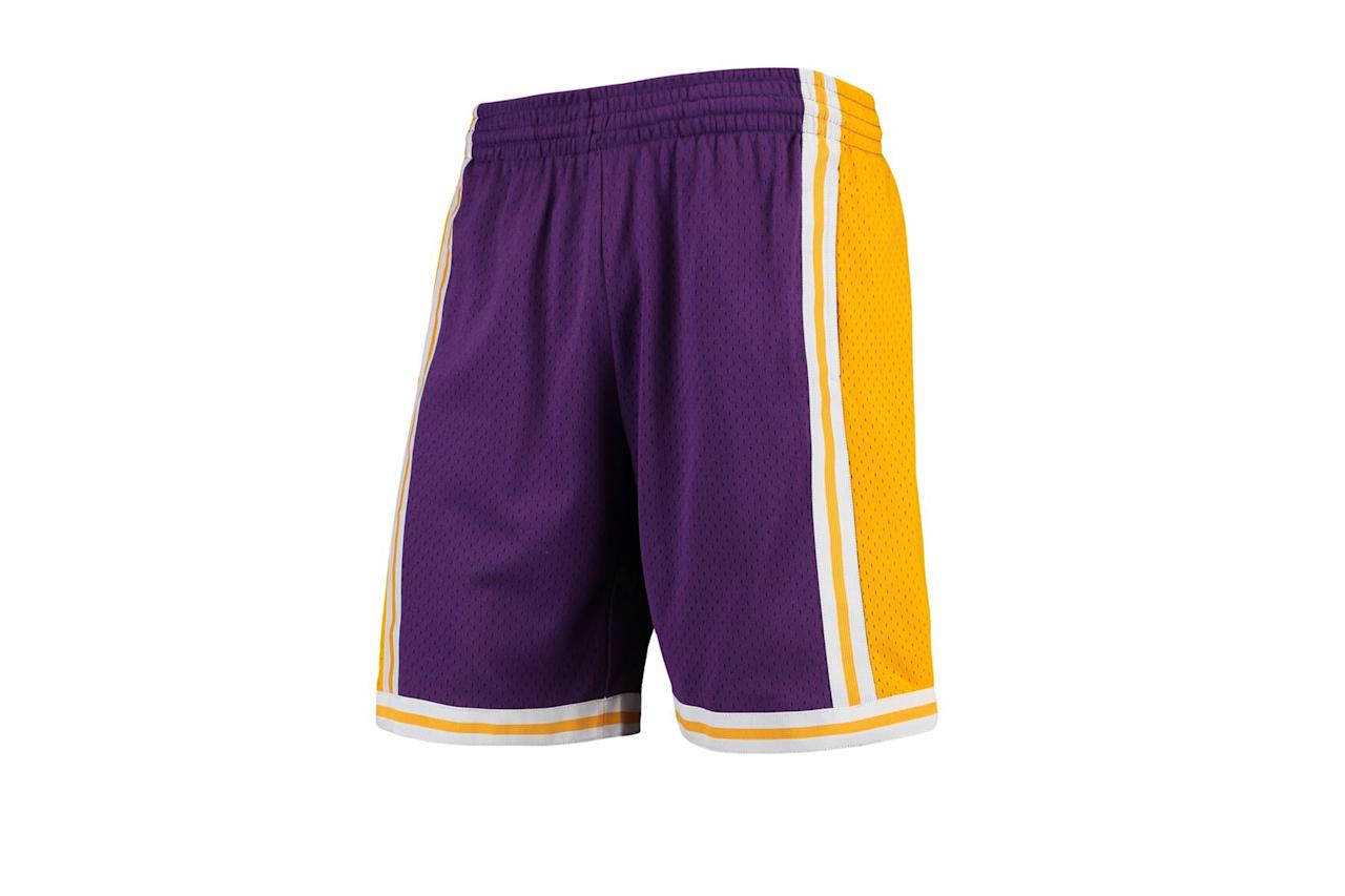 "$80, NBA. <a href=""https://store.nba.com/los-angeles-lakers/mens-los-angeles-lakers-mitchell-and-ness-purple-hardwood-classics-team-swingman-shorts/t-36032980+p-4714502458237+z-9-4169540738"">Get it now!</a>"