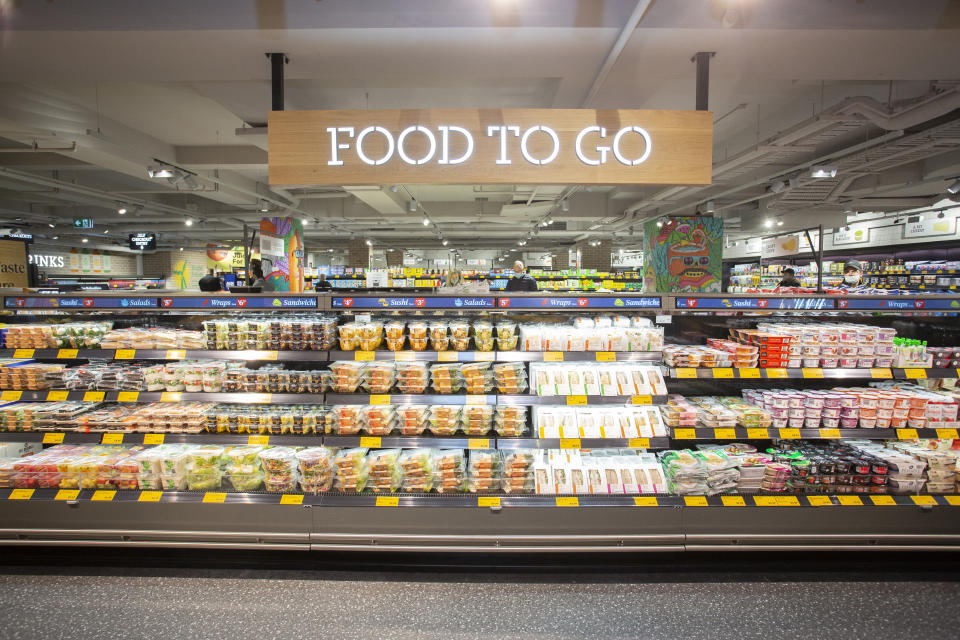 The Food to Go display at the new Aldi corner store.