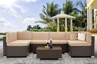 <p>This <span>U-Max 7 Piece Outdoor Patio Furniture Set</span> ($590) is so versatile. You can set it up as a giant sectional or break it down into smaller pieces.</p>