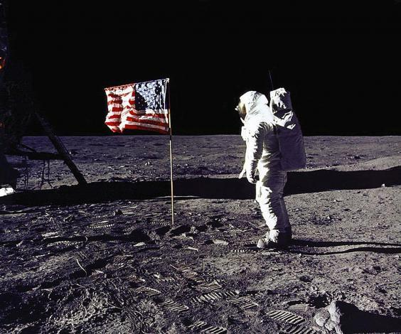 Buzz Aldrin saluting the US flag on the surface of the Moon in 1969 (Getty)