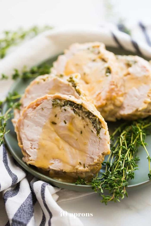 """<p>It wouldn't be Thanksgiving without the turkey, right?</p> <p><strong>Get the recipe:</strong> <a rel=""""nofollow"""" href=""""https://40aprons.com/whole30-instant-pot-turkey-breast-gravy-paleo/"""">turkey breast with gravy</a></p>"""