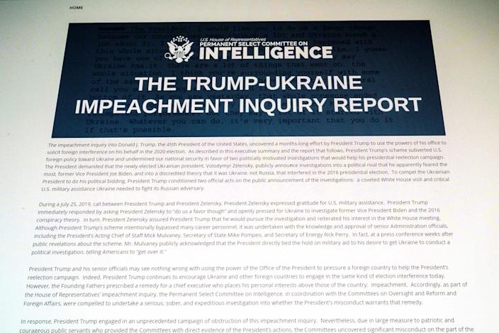 This photo of a computer screen shows a copy of the Permanent Select Committee on Intelligence Report of The Trump-Ukraine Impeachment Inquiry Report on December 3, 2019 in Washington,DC.