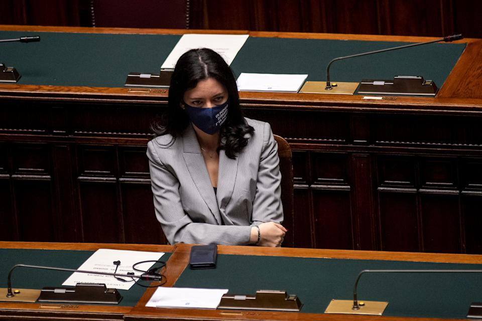 ROME, ITALY - OCTOBER 22: Education Minister Lucia Azzolina wearing a protective mask attends the informative debate about further initiatives adopted by Italian government related to the Covid-19 epidemiological emergency at the Camera dei Deputati (Chamber of Deputies, on October 22, 2020 in Rome, Italy. Today Italian Prime Minister Giuseppe Conte told the Chamber of Deputies (Camera dei Deputati) that the government is ready to take further action amid the increase of COVID-19 infections in Italy. (Photo by Antonio Masiello/Getty Images) (Photo: Antonio Masiello via Getty Images)