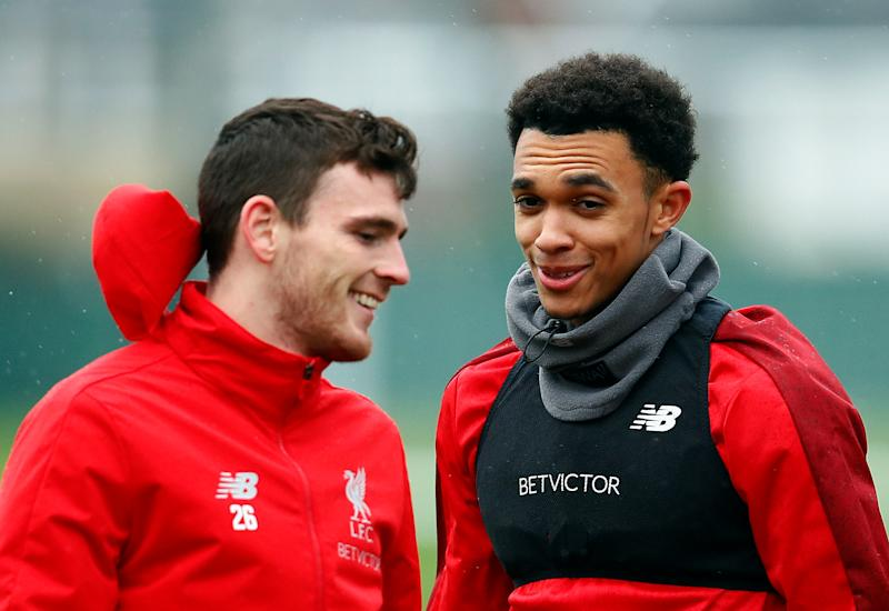 Soccer Football - Champions League - Liverpool Training - Melwood, Liverpool, Britain - November 27, 2018 Liverpool's Andrew Robertson and Trent Alexander-Arnold during training Action Images via Reuters/Jason Cairnduff