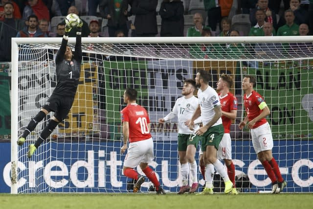 Switzerland goalkeeper Yann Sommer was rarely troubled by the Republic of Ireland in a game his side won 2-0 (Salvatore Di Nolfi/Keystone via AP)