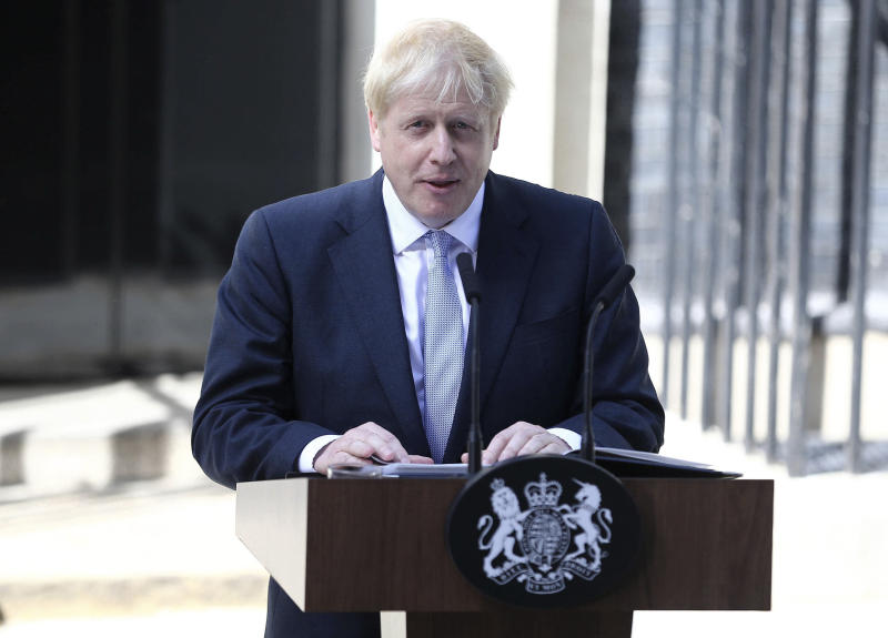 April 12th 2020 - Boris Johnson has been released from the hospital after being treated for symptoms of the coronavirus. - April 5th 2020 - Boris Johnson has been admitted to the hospital after displaying symptoms of the coronavirus. - March 27th 2020 - Boris Johnson - Prime Minister of The United Kingdom - has tested positive for the coronavirus. - File Photo by: zz/KGC-254/STAR MAX/IPx 2019 7/24/19 Boris Johnson delivers his first speech as Prime Minister of The United Kingdom outside Number 10 Downing Street. (London, England, UK)