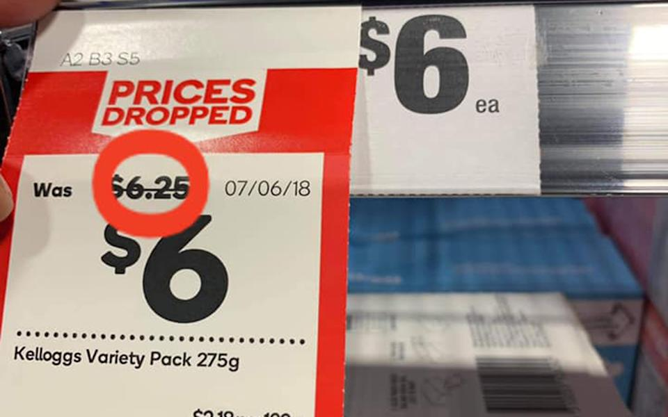 A Woolworths customer has criticised the stores approach to specials price tags. Source: Facebook