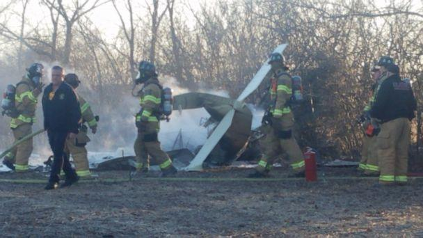 PHOTO: Two people died when a small plane crashed in Kansas on Dec. 31, 2019. Firefighters are seen near the scene. (Frank Donchez/Twitter)