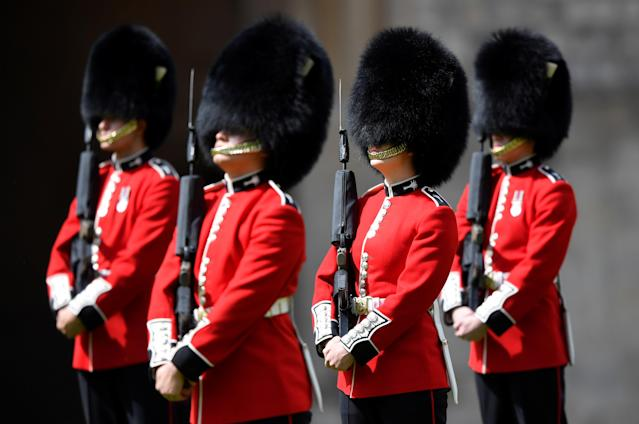 Members of the Welsh Guards marking the Queen's official birthday. (Getty Images)
