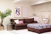 """<p>If you're looking to create a basement space where you can """"hang out,"""" consider installing a hammock swing chair. Relaxation station, here we come! </p><p><strong>See more at <a href=""""https://providenthomedesign.com/2015/11/12/basement-rec-room-makeover-reveal-orc-week-6/"""" rel=""""nofollow noopener"""" target=""""_blank"""" data-ylk=""""slk:Provident Home Design"""" class=""""link rapid-noclick-resp"""">Provident Home Design</a>.</strong></p><p> <a class=""""link rapid-noclick-resp"""" href=""""https://www.amazon.com/CCTRO-Hammock-Hanging-Bedroom-Capacity/dp/B07HMS2B27/ref=sr_1_7?tag=syn-yahoo-20&ascsubtag=%5Bartid%7C2164.g.34763691%5Bsrc%7Cyahoo-us"""" rel=""""nofollow noopener"""" target=""""_blank"""" data-ylk=""""slk:SHOP HAMMOCK SWING CHAIRS"""">SHOP HAMMOCK SWING CHAIRS</a></p>"""
