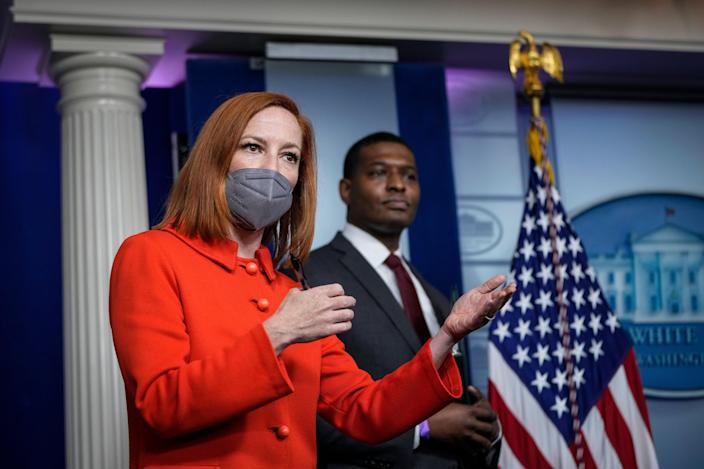 <p>White House Press Secretary Jen Psaki speaks as Administrator of the Environmental Protection Agency (EPA) Michael Regan looks on during the daily press briefing at the White House on May 12, 2021 in Washington, DC</p> (Photo by Drew Angerer/Getty Images)