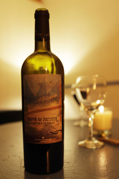 In this photo taken Wednesday April 11, 2012, shown is a bottle of Drops of Jupiter Petite Sirah wine by the band Train, backstage before their concert at the Great American Music Hall in San Francisco. (AP Photo/Eric Risberg)