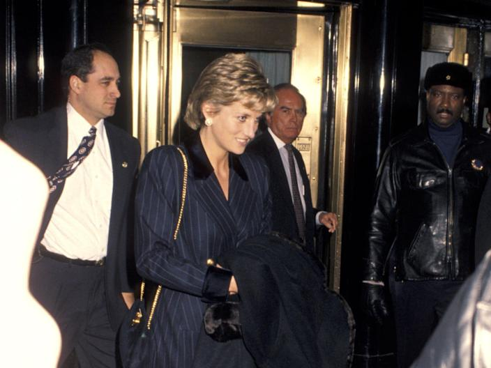 Princess Diana leaving the Carlyle Hotel