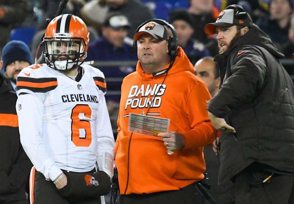 Baker Mayfield and Freddie Kitchens developed a solid enough rapport over 8 games for the Browns to give Kitchens the head coaching job. (Getty Images)
