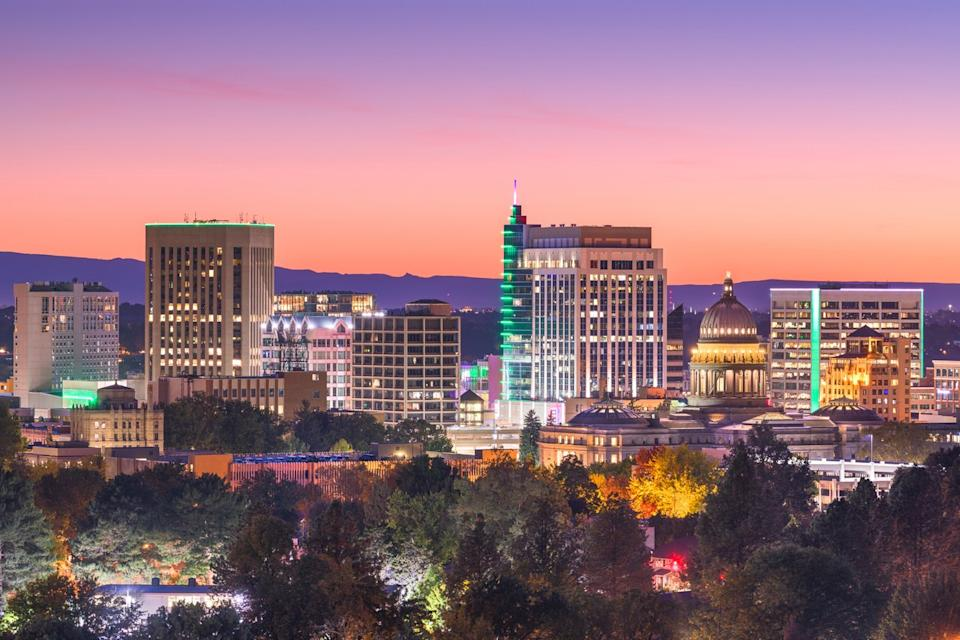 The skyline of downtown Boise, Idaho at twilight