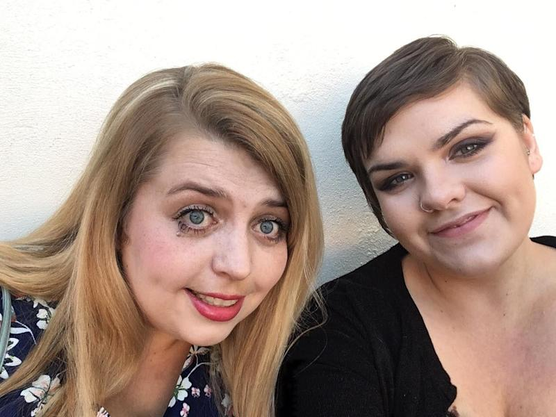 Sarah Bredin-Kemp of herself (left) with nurse Rebecca Mack, 29, who died on Sunday after going into self isolation with virus symptoms. (PA)