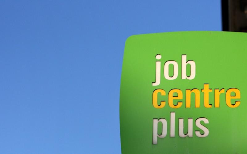 A general view of a sign outside a Jobcentre plus at Jarrow, England, Wednesday, Nov. 16, 2011. (AP Photo/Scott Heppell)