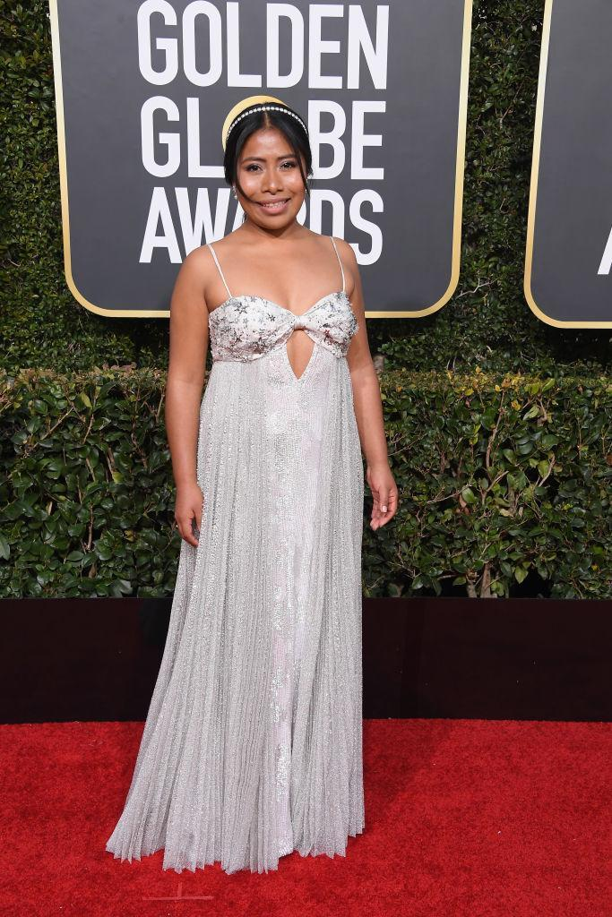 <p>Yalitza Aparicio attends the 76th Annual Golden Globe Awards at the Beverly Hilton Hotel in Beverly Hills, Calif., on Jan. 6, 2019. (Photo: Getty Images) </p>