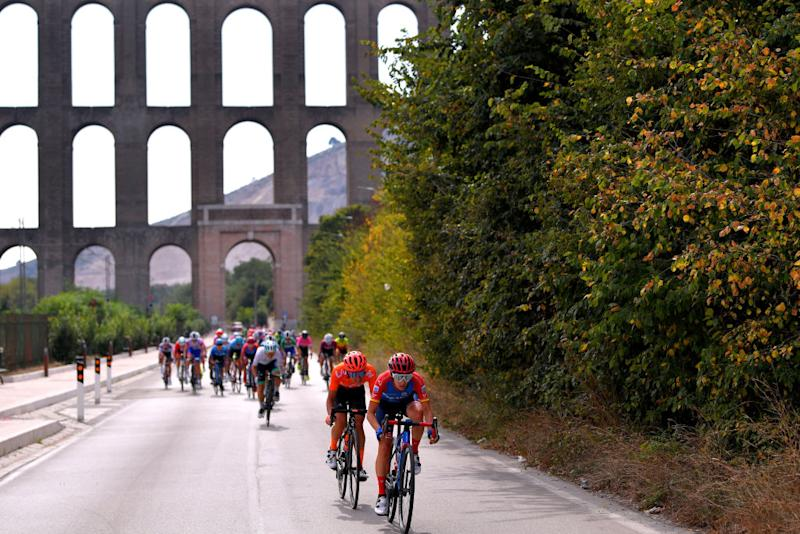MADDALONI ITALY SEPTEMBER 17 Ane Santesteban Gonzalez of Spain and Ceratizit WNT Pro Cycling Team Sofia Bertizzolo of Italy and Team CCC Liv Peloton Viaduct during the 31st Giro dItalia Internazionale Femminile 2020 Stage 7 a 1125km stage from Nola to Maddaloni GiroRosaIccrea GiroRosa on September 17 2020 in Maddaloni Italy Photo by Luc ClaessenGetty Images