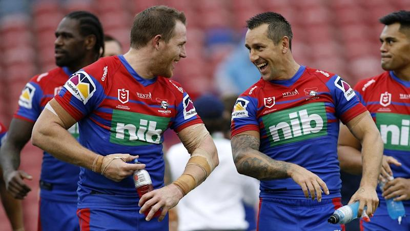 All smiles in Newcastle after the Knights scored a 20-0 opening round win over the Warriors