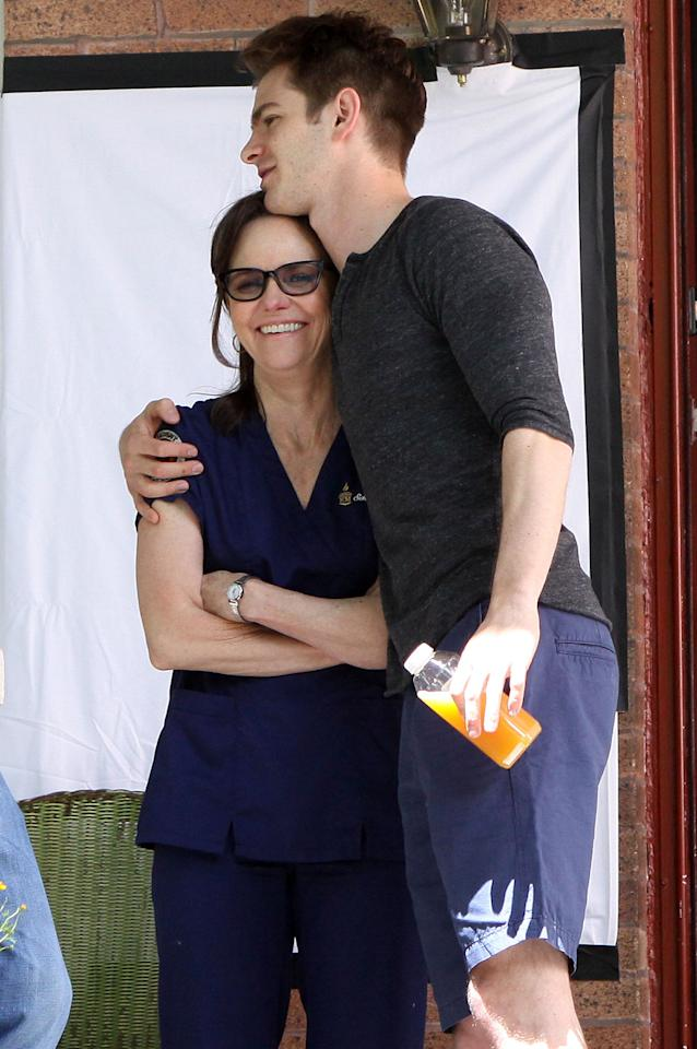 "Andrew Garfield and Sally Field pictured filming a scene on the set of ""The Amazing Spider-Man 2"" movie in Brooklyn.