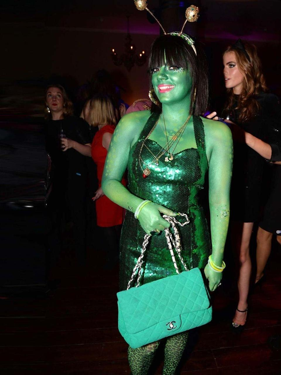 """<p><a href=""""http://www.elleuk.com/star-style/celebrity-style-files/lily-allen"""" rel=""""nofollow noopener"""" target=""""_blank"""" data-ylk=""""slk:Lily Allen"""" class=""""link rapid-noclick-resp"""">Lily Allen</a> in an alien costume at the UNICEF Halloween Ball, London, October 2013. </p>"""