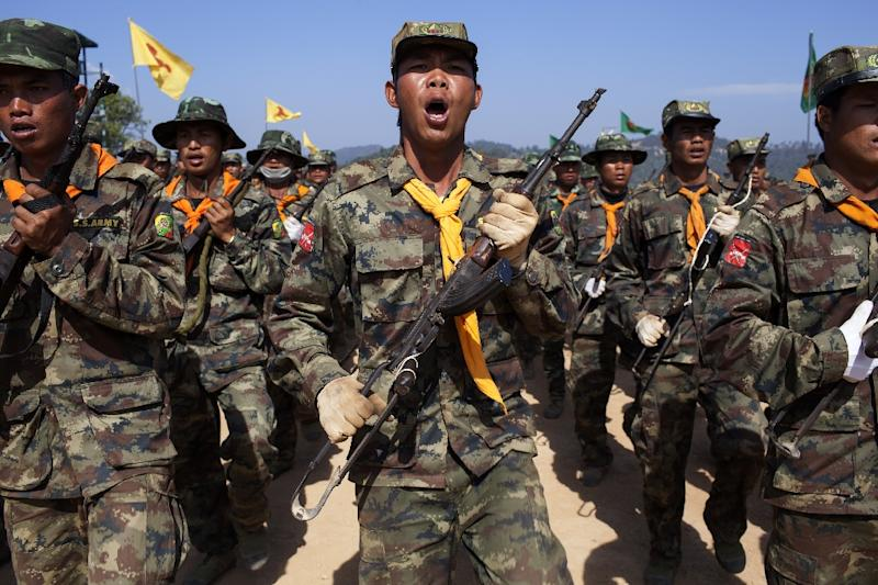 The rebels of Shan State Army - South (SSA-S), also know as the Restoration Council for Shan State (RCSS), seen training at their headquarters in Loi Tai Leng (AFP Photo/KC Ortiz)
