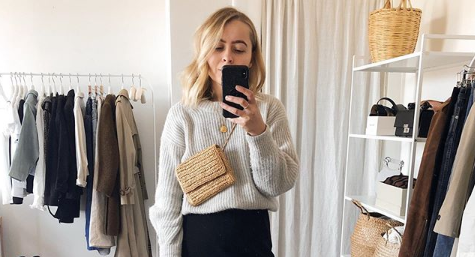 A fashion blogger has revealed her simple trick for neatly tucking chunky knits into skirts [Image: Instagram]